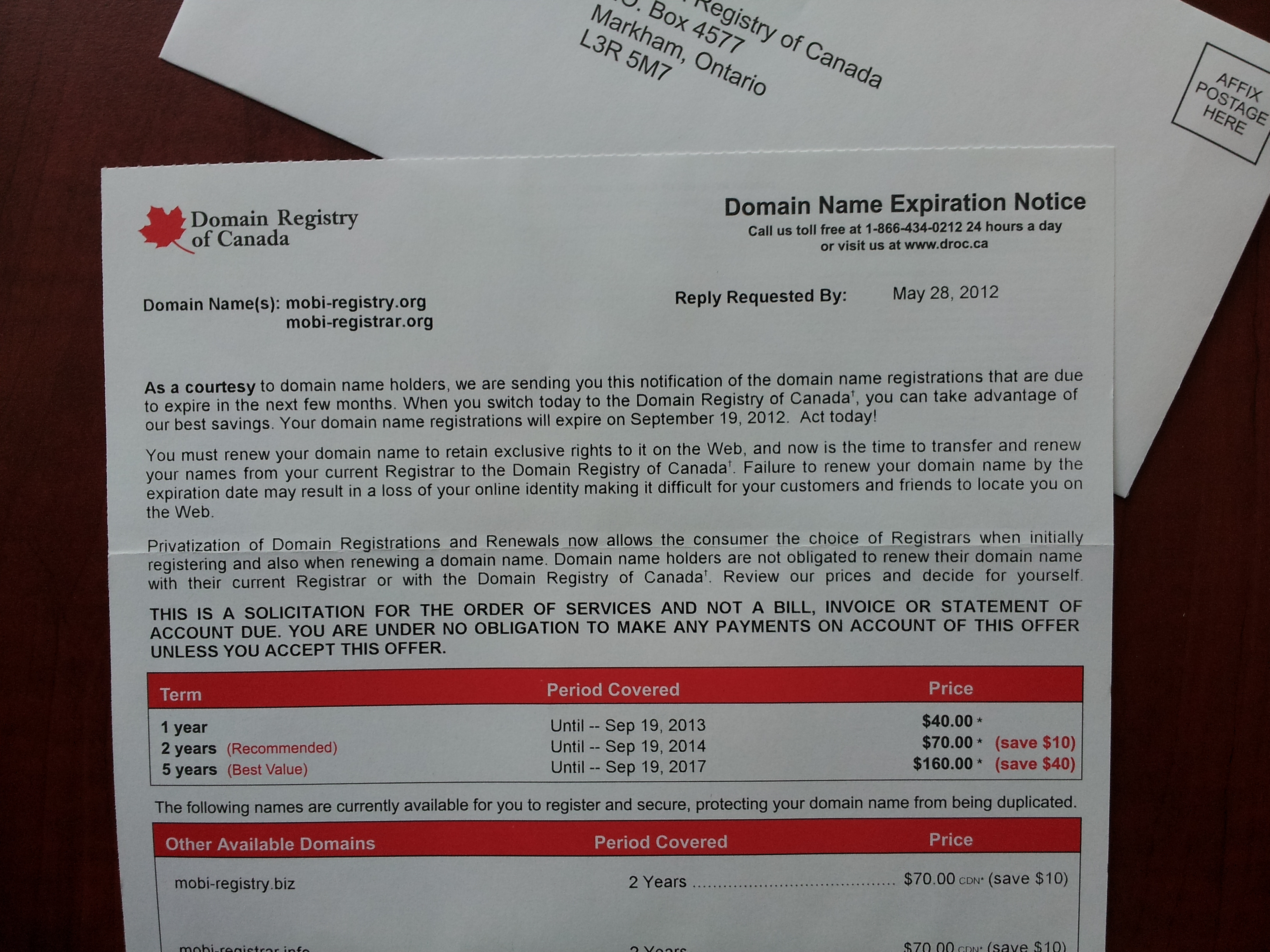 Domain Registry of Canada Scam Letter